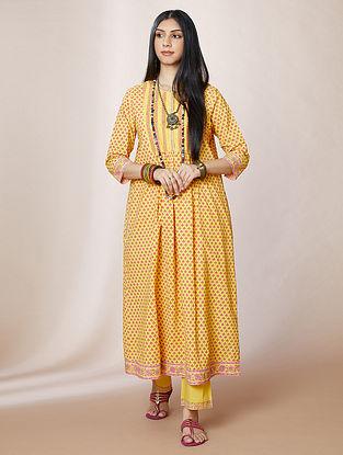 Yellow Hand Block Printed Cotton Kurta