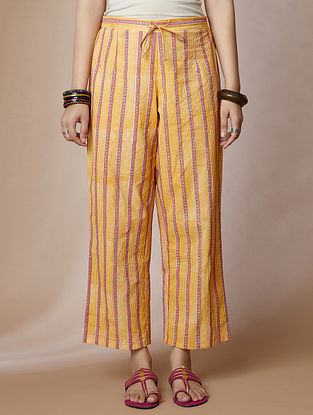 Yellow Hand Block Printed Cotton Pants