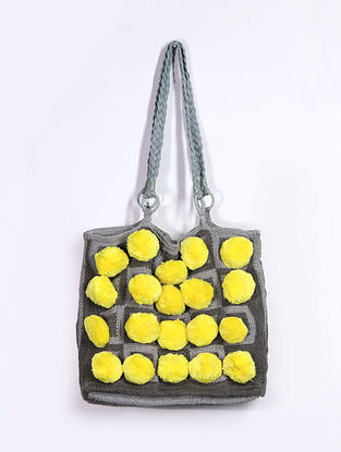 Yellow Grey Handcrafted Cotton Tote Bag
