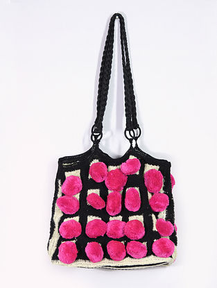 Pink Black Handcrafted Cotton Tote Bag