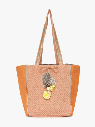 Peach Orange Linen Tote Bag