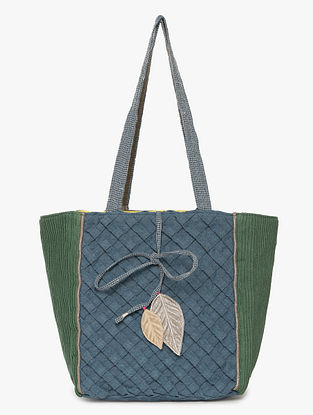 Blue Green Linen Tote Bag