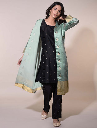 Green  Handwoven Chanderi Jacquard Jacket