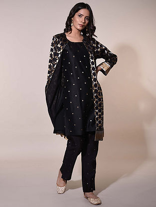 Black  Handwoven Chanderi Jacquard Kurta with Jacket (Set of  2)