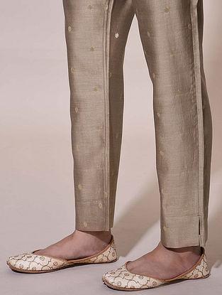 Brown Tie-Up Chanderi Jacquard Pants