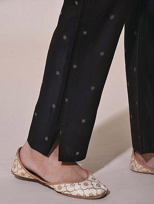 Black Tie-Up Chanderi Jacquard Pants