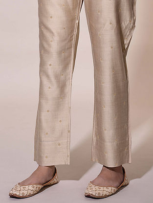 Beige Tie-Up Chanderi Jacquard Pants with Lining