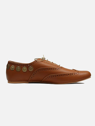 Tan Handcrafted Leatherette Shoes