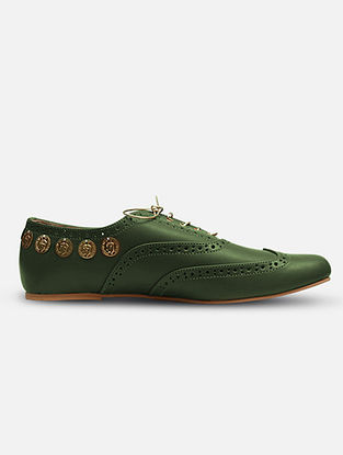 Dark Green Handcrafted Leather Shoes