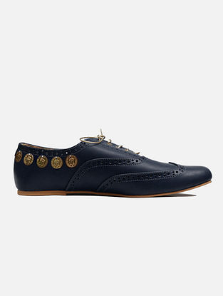 Navy Blue Handcrafted Leather Shoes
