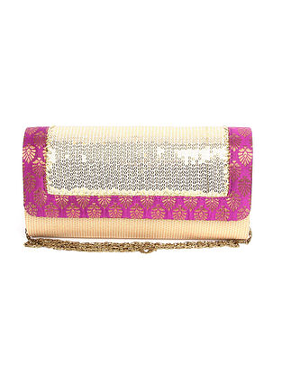 Beige Purple Handcrafted Polyester Clutch