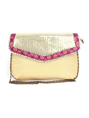 Off White Gold Handcrafted Polyester Clutch