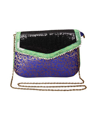 Blue Black Handcrafted Polyester Clutch