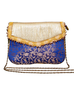 Blue Gold Handcrafted Polyester Clutch