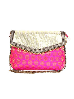 Pink Gold Handcrafted Polyester Clutch