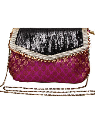 Purple Black Handcrafted Polyester Clutch