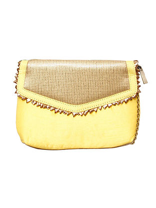 Yellow Gold Handcrafted Polyester Clutch