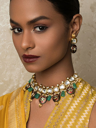 Red Green Gold Tone Kundan Enameled Necklace And Earrings With Pearls