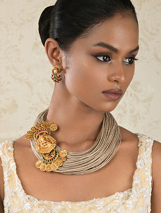 Pink Gold Tone Temple Work Necklace With Earrings