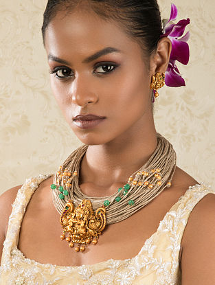 Brown Gold Tone Temple Work Necklace With Earrings