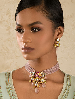 Pink Gold Tone Kundan Necklace And Earrings With Agate Quartz And Pearls