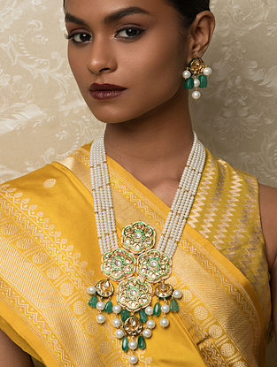 Green White Gold Tone Kundan Beaded Necklace And Earrings With Jade And Pearls