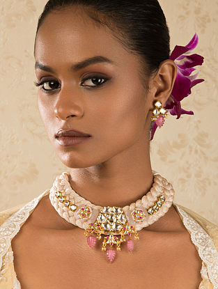 Pink Gold Tone Kundan Necklace And Earrings With Jade Quartz And Pearls
