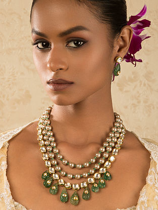 Green Gold Tone Kundan Necklace And Earrings With Jade And Pearls