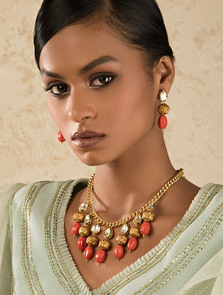 Coral Gold Tone Kundan Necklace With Earrings