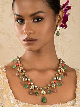Green Gold Tone Kundan Necklace And Earrings With Pearls Jade And Agate
