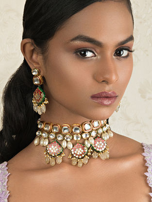 Red Gold Tone Kundan Enameled Necklace And Earrings With Quartz And Pearls