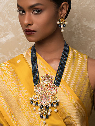 Blue Gold Tone Kundan Beaded Necklace And Earrings With Agate Quartz And Pearls