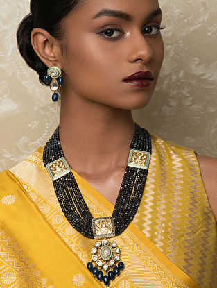 Blue Black Gold Tone Kundan Beaded Necklace And Earrings With Agate And Quartz