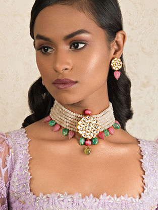 Pink Green Gold Tone Kundan Necklace And Earrings With Jade And Agate