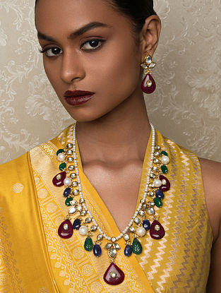 Multicolored Gold Tone Kundan Necklace And Earrings With Jade And Pearls