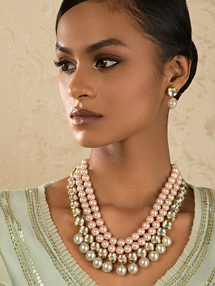Pink Gold Tone Kundan Necklace And Earrings With Pearls