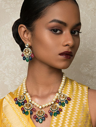 Multicolored Gold Tone Kundan Beaded Necklace And Earrings With Pearls