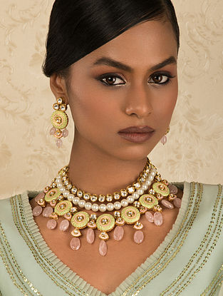 Pink Green Gold Tone Kundan Necklace And Earrings With Quartz And Pearls