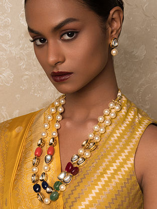Multicolored Gold Tone Kundan Beaded Necklace And Earrings With Jade And Pearls