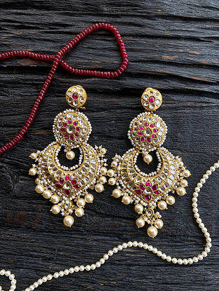 Gold and Polki Diamond Earrings with Ruby and Pearls