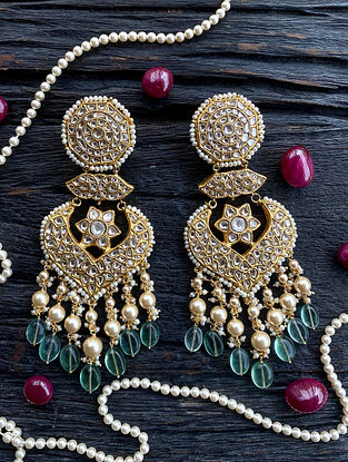 Gold and Polki Diamond Earrings with Flourite and Pearls