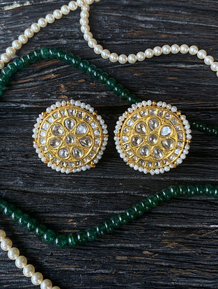 Gold and Polki Diamond Earrings with Pearls