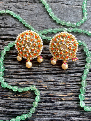 Gold and Polki Diamond Earrings with Coral and Pearls