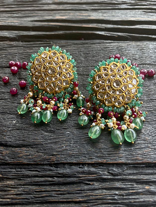 Gold and Polki Diamond Earrings with Ruby and Emerald