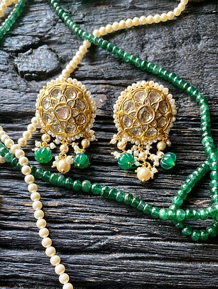 Gold and Polki Diamond Earrings with Emerald and Pearls