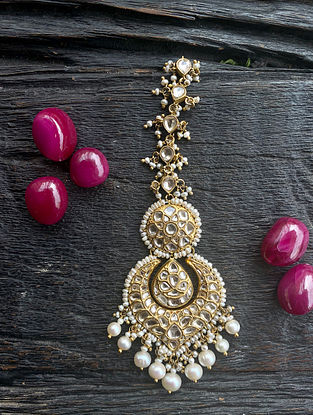Gold and Polki Diamond Maangtika with Pearls