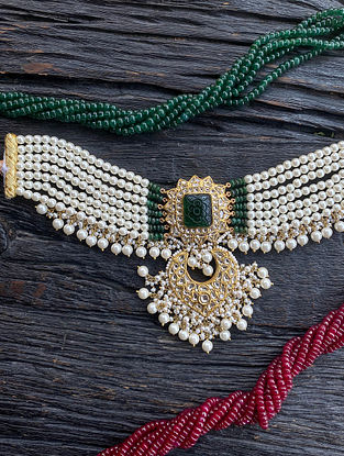 Gold and Polki Diamond Necklace with Emerald and Pearls