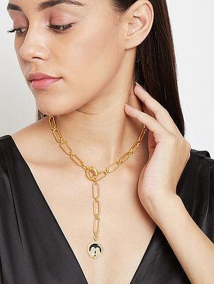 Gemini Gold Tone Enameled Pendant With Chain