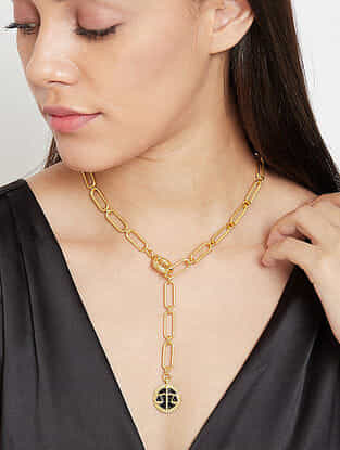 Libra Gold Tone Enameled Pendant With Chain