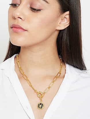 Scorpio Gold Tone Enameled Pendant With Chain